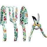 YARTTING Garden Tool Set, Aluminum 4 Piece Floral Print Gardening Hand Tools Kit, Gardening Gifts for Women with Hand Rake, T