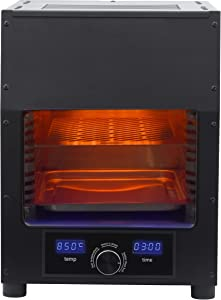 Flame King FK-BEEF-110 Scorch Electric Rapid Broiler Infrared Smokeless Steak Chicken,Pork Searing Charbroil Cooker Grill for Indoor/Outdoor, Black