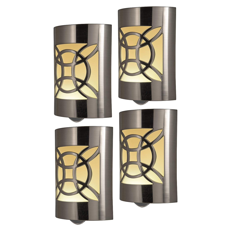 GE CoverLite LED Night Light Celtic Design, 4-Pack, Plug-in, Dusk to Dawn Sensor, Home Décor, for Elderly, Ideal for Bedroom, Bathroom, Nursery, Kitchen, Hallway, Brushed Nickel, 46459,
