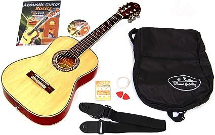 3/4 niños Guitarra acústica Natural con set de accesorios: funda ...