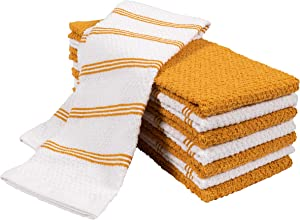 KAF Home Pantry Piedmont Terry Kitchen Towels | Set of 8, 16 x 26 inch, Absorbent Terry Cloth Dish Towels, Hand Towels, Tea Towels | Perfect for Kitchen Spills, Cooking, and Messes - Harvest Ochre