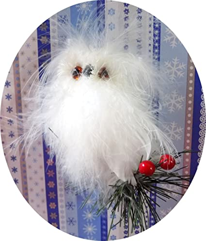 Decorative White Winter Wonderland Christmas or Car Ornament - Feathered  Feather Snowy Snow Owl - Amazon.com: Decorative White Winter Wonderland Christmas Or Car