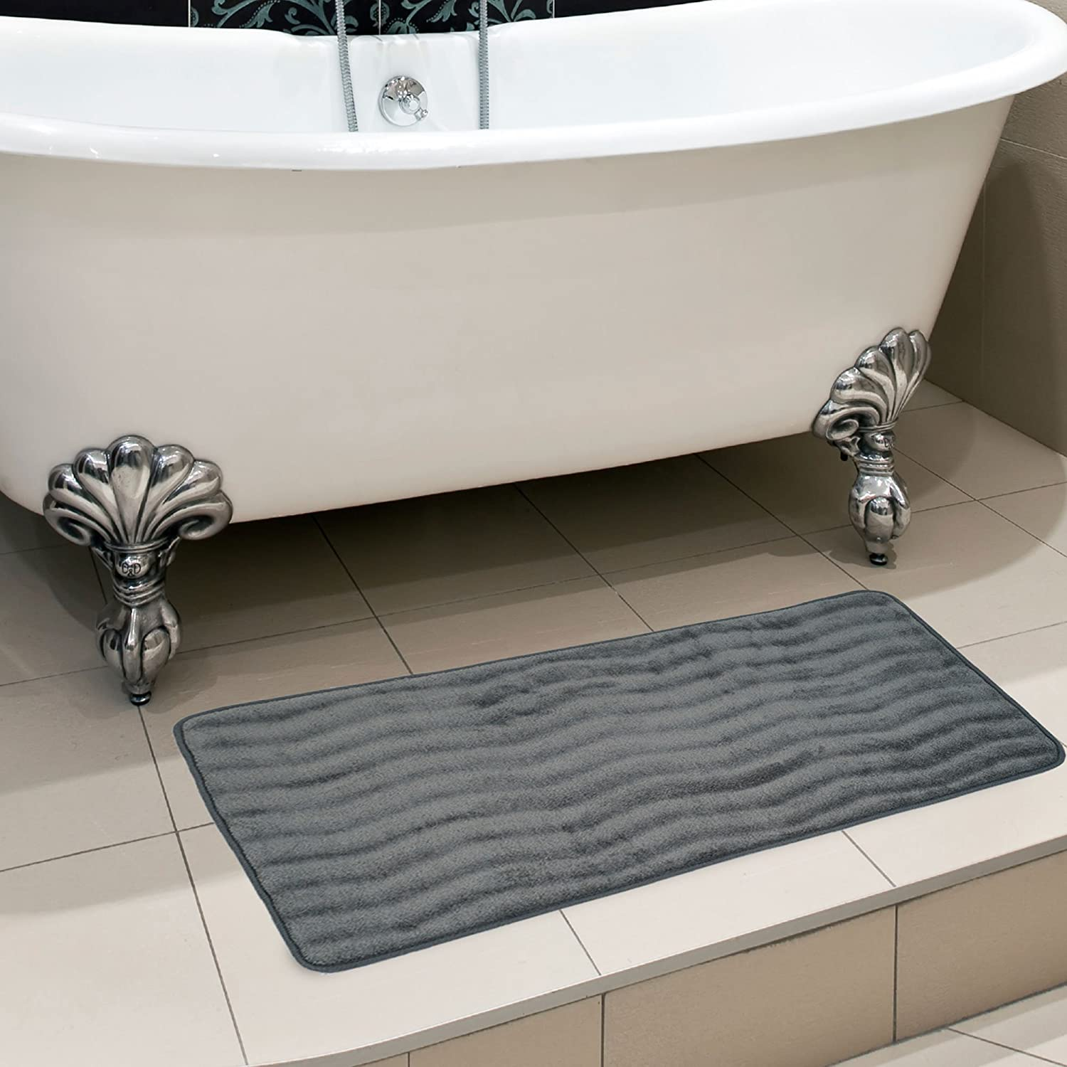 Platinum Oversized Padded Nonslip Accent Rug for Bathroom 67A-26655 Laundry Room Kitchen Wave Pattern Bedford Home Microfiber Memory Foam Bathmat