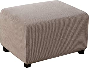 Ottoman Slipcover Rectangle Folding Ottoman Cover Jacquard Polyester Stretch Fabric Storage Stool Ottoman Cover Furniture Protector for Living Room (Large, Taupe)