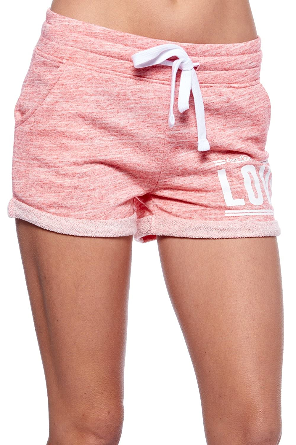 """Womens """"Love"""" Print Workout Cuffed Sweat French Terry Shorts H254"""
