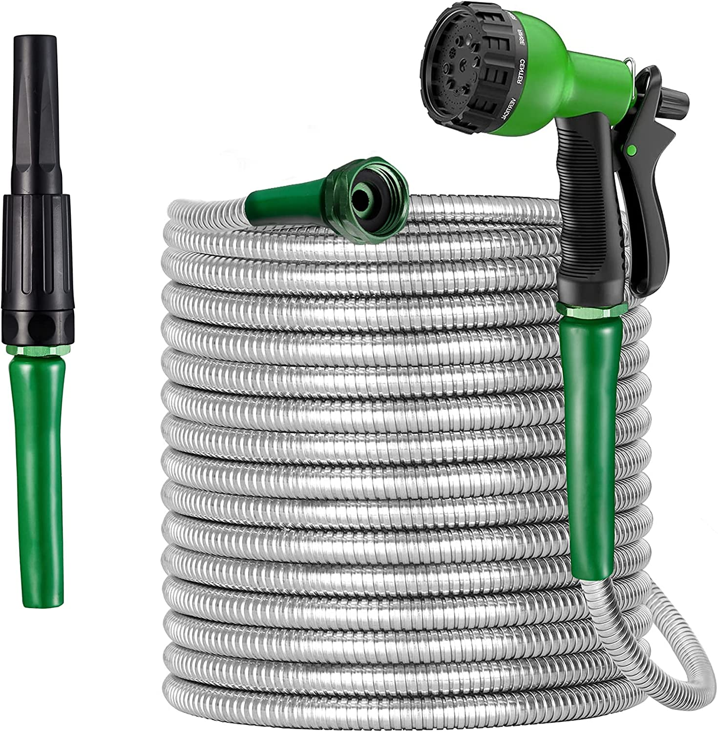 DeDebrly Garden Hose 50 ft, Flexible 5/8-in Heavy-Duty Kink-Free Garden Hose with 2 Nozzles, Expandable Garden Hose with 10-Way Sprayer, Tangle Free Stainless Steel Water Hose