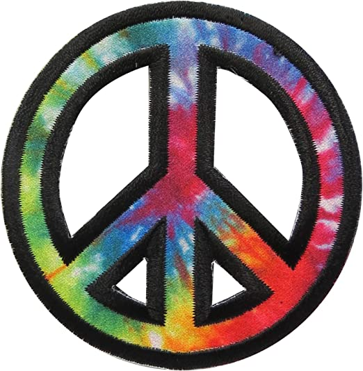 """Iron on Embroidered Applique Patch 1/"""" PEACE SIGN choose from 11 colors"""
