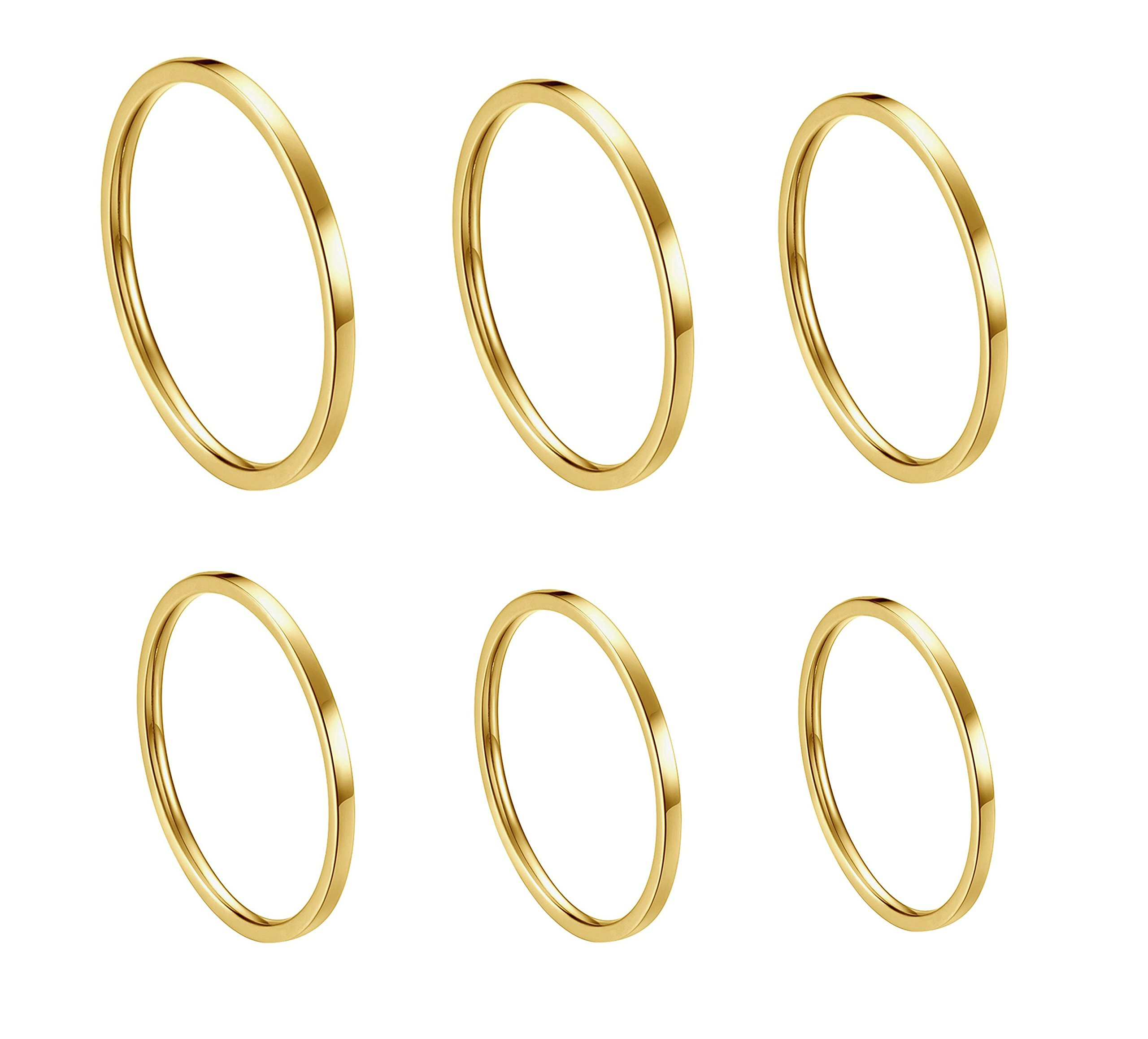 ALEXTINA Women's 6 Pieces Stainless Steel 1MM Gold Thin Midi Stacking Rings Plain Band Comfort Fit Size 4 to 9