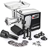 STX Turboforce II - Quad Air Cooling - Electric Meat Grinder & Sausage Stuffer – Foot Pedal Control, 6 Grinding Plates, 3 Cutting Blades, Kubbe & Sausage Stuffing Tubes (Black)