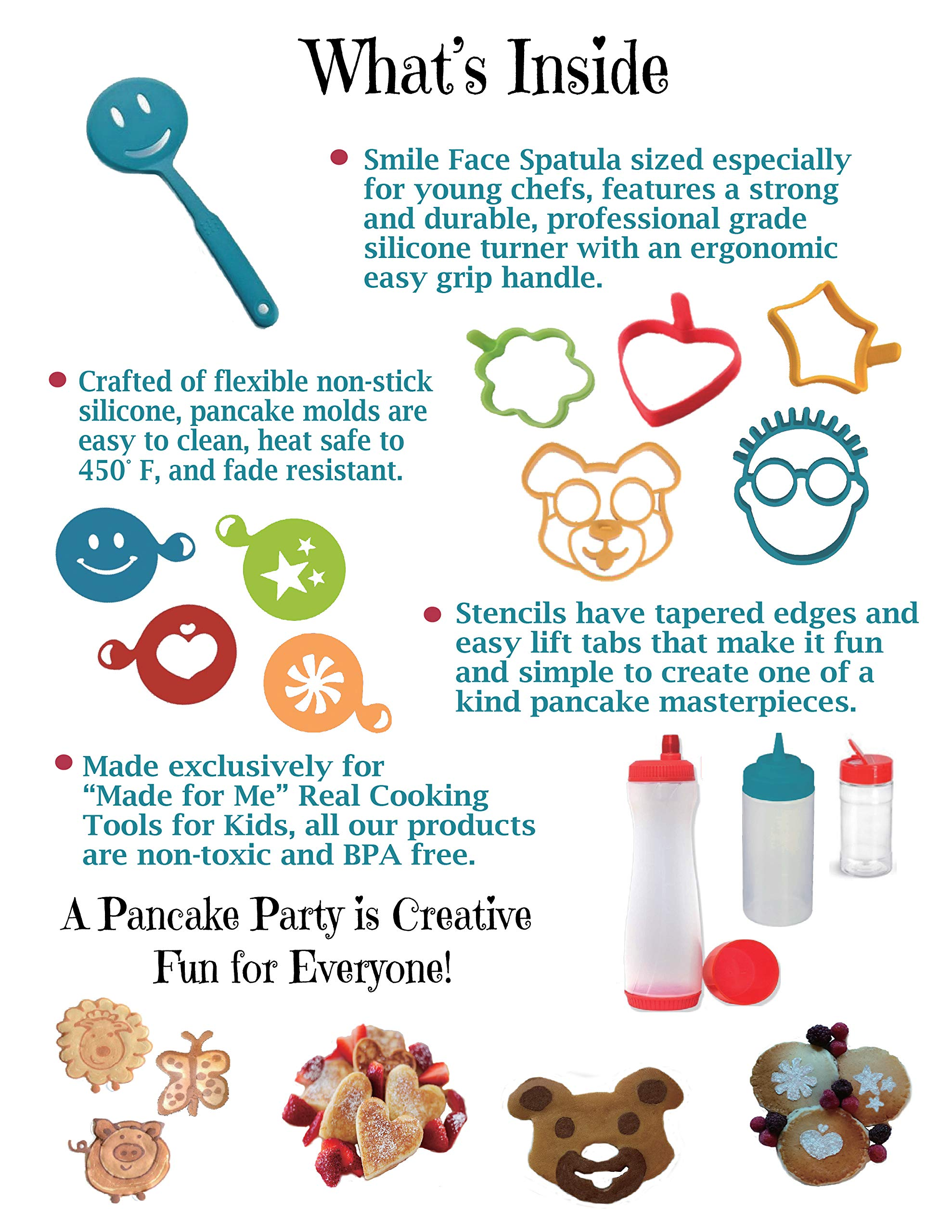 Pancake Party! The Ultimate Pancake Art Making Set for Kids - SUMMER SALE! / REG $35.95 Excellent culinary educational gift for children, young bakers, chefs! baking, cooking kit for boys and girls! by Made for Me (Image #3)