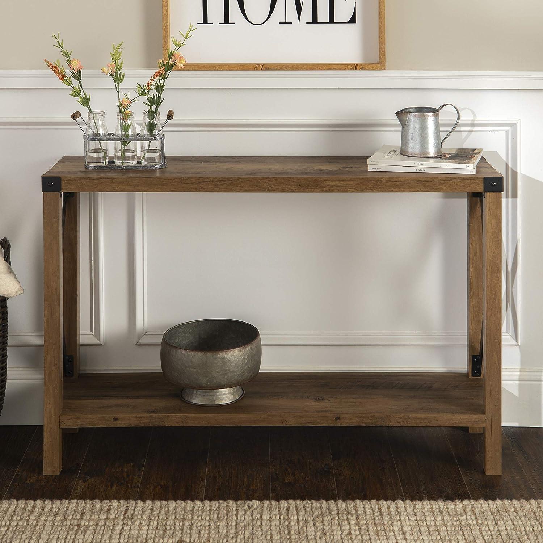 "WE Furniture AZF46MXETRO Entryway Table, 46"", Rustic Oak"