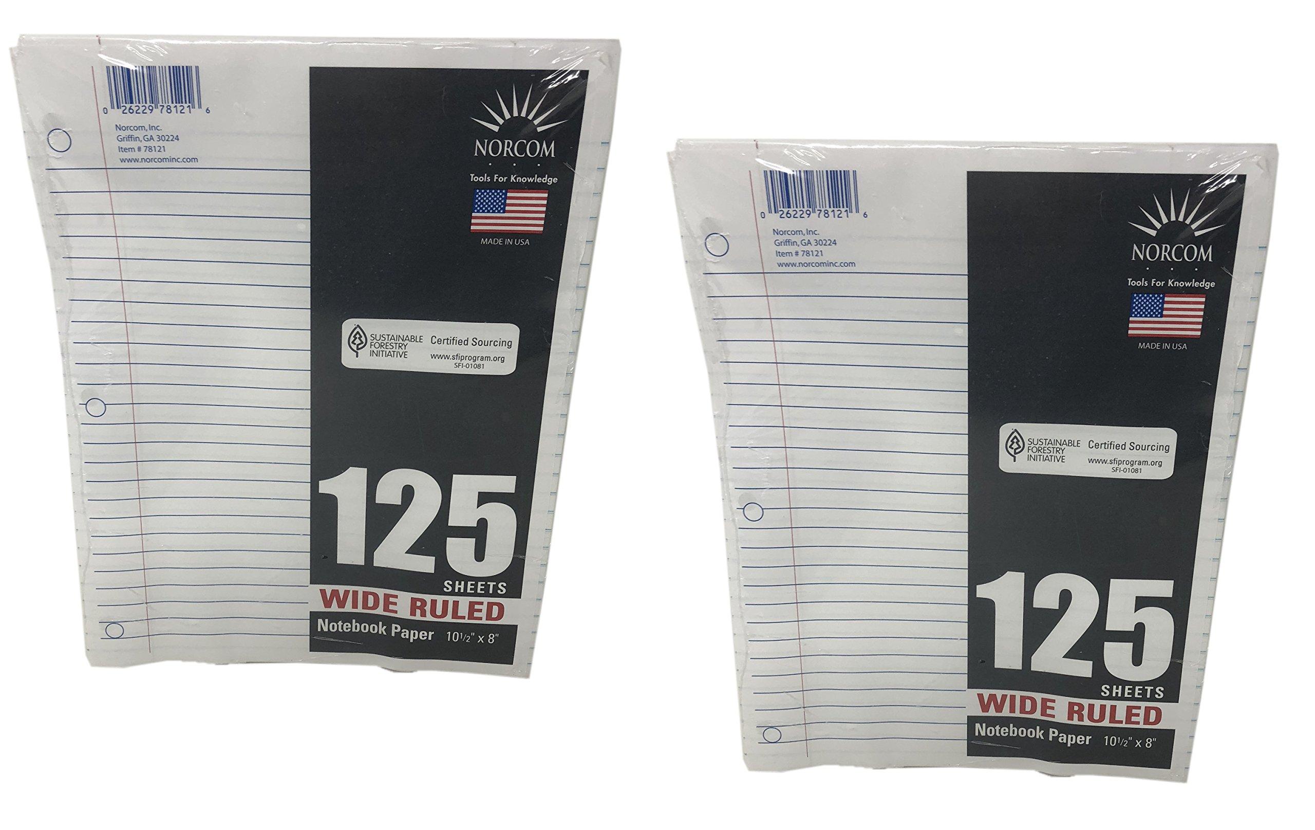 Norcom Loose-Leaf Filler Notebook Paper, 250 Sheets (Wide Ruled)