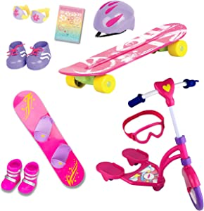 "Beverly Hills Complete 18"" Doll 12 Piece Sports Set, for Skating, Snow Boarding and Riding Fun Includes an Adorable Hot Pink Skateboard, Snowboard, Scooter, and Accessories, Doll Not Included"