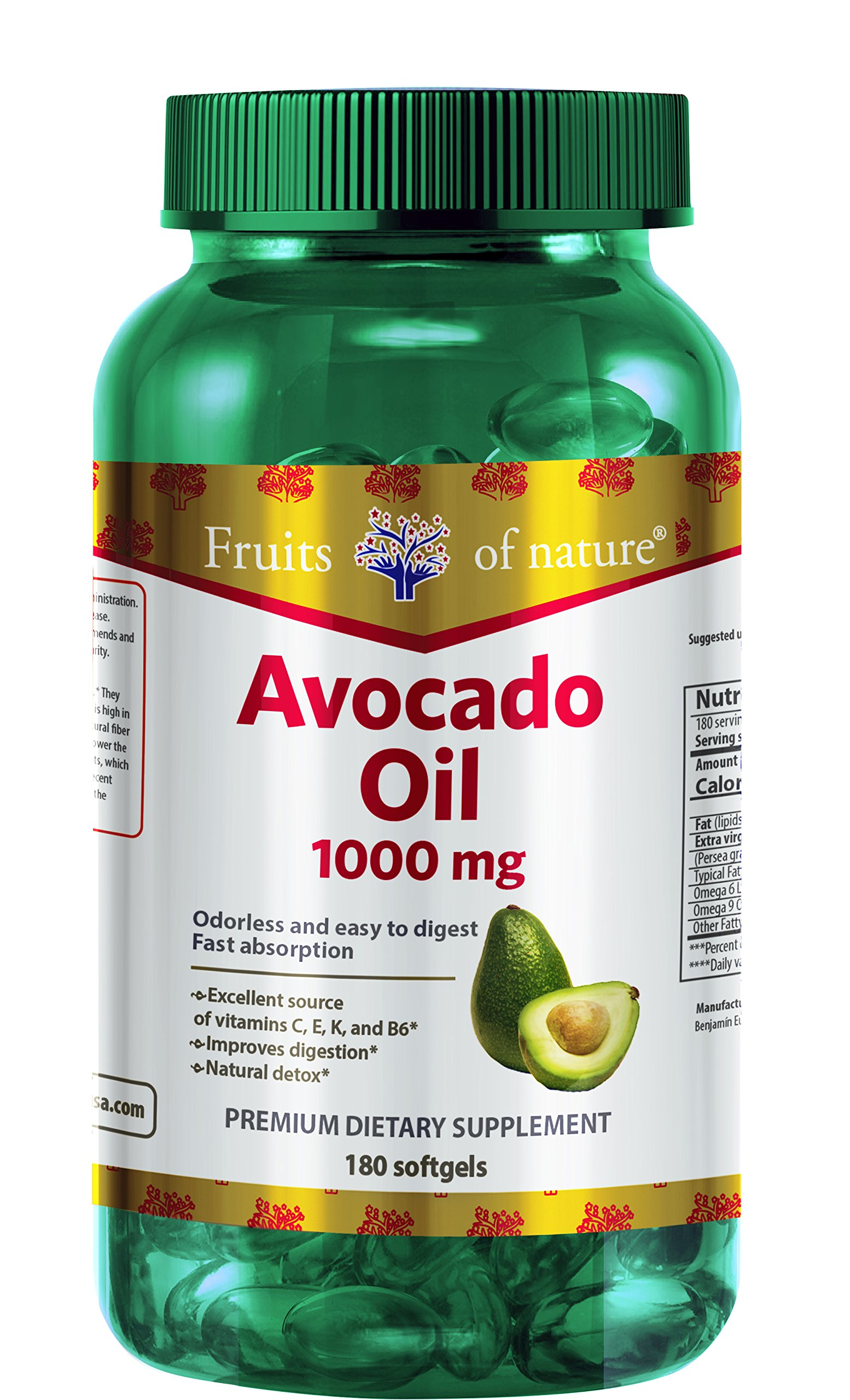 Avocado Oil Capsules 1000 mg - Organic, Extra Virgin, and Cold Pressed Quick Release softgels - Premium Frutal Dietary Supplement-by Fruits of Nature