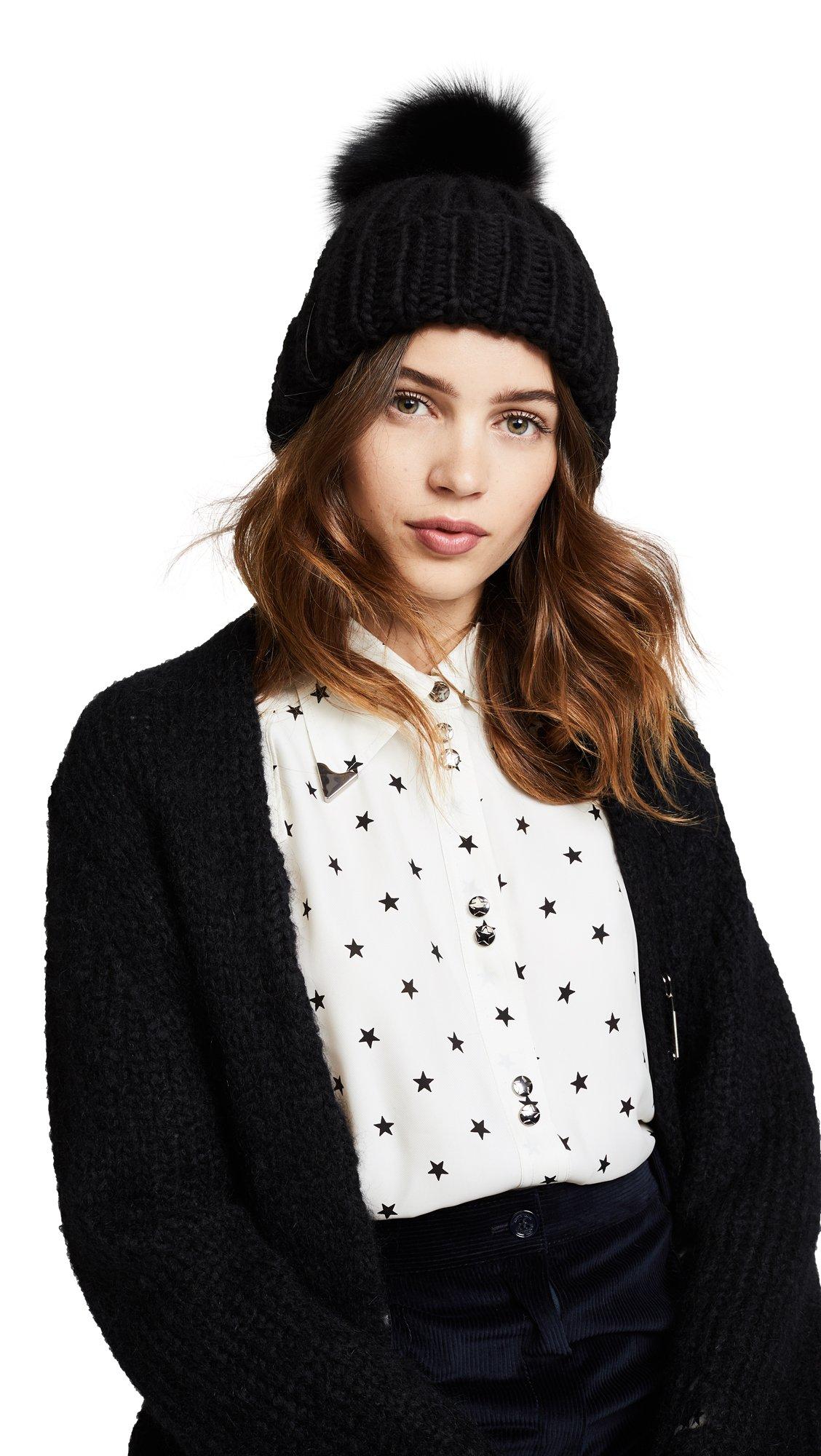 Eugenia Kim Women's Rain Pom Beanie Hat, Black, One Size