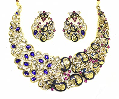 e7425dcdf0 Buy Zaveri Pearls Beautiful Leaf Kundan Necklace Set for Women-ZPFK1011  Online at Low Prices in India | Amazon Jewellery Store - Amazon.in