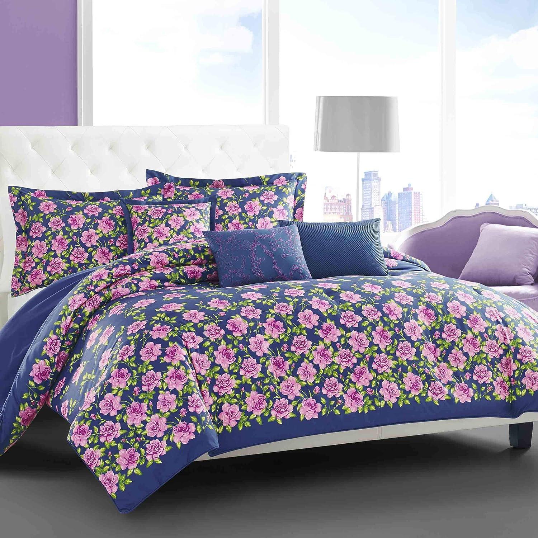 Betsey Johnson Rose Garden Comforter Set, Full/Queen, Dark Blue