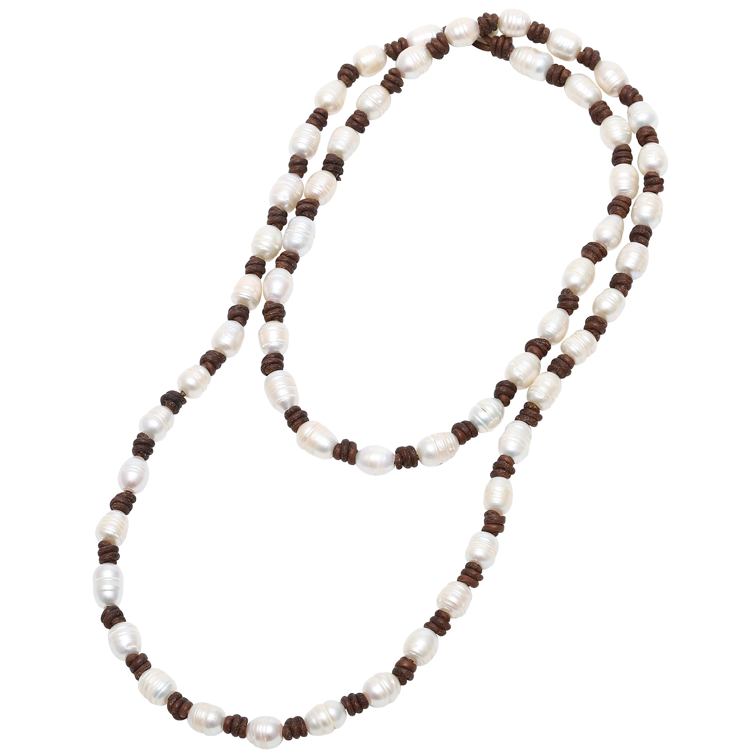 PERNNLA PEARL Cultured Freshwater Pearl Beaded Strand Necklace Handmade Genuine Brown Leather Layer Necklace Costume Jewelry 39''