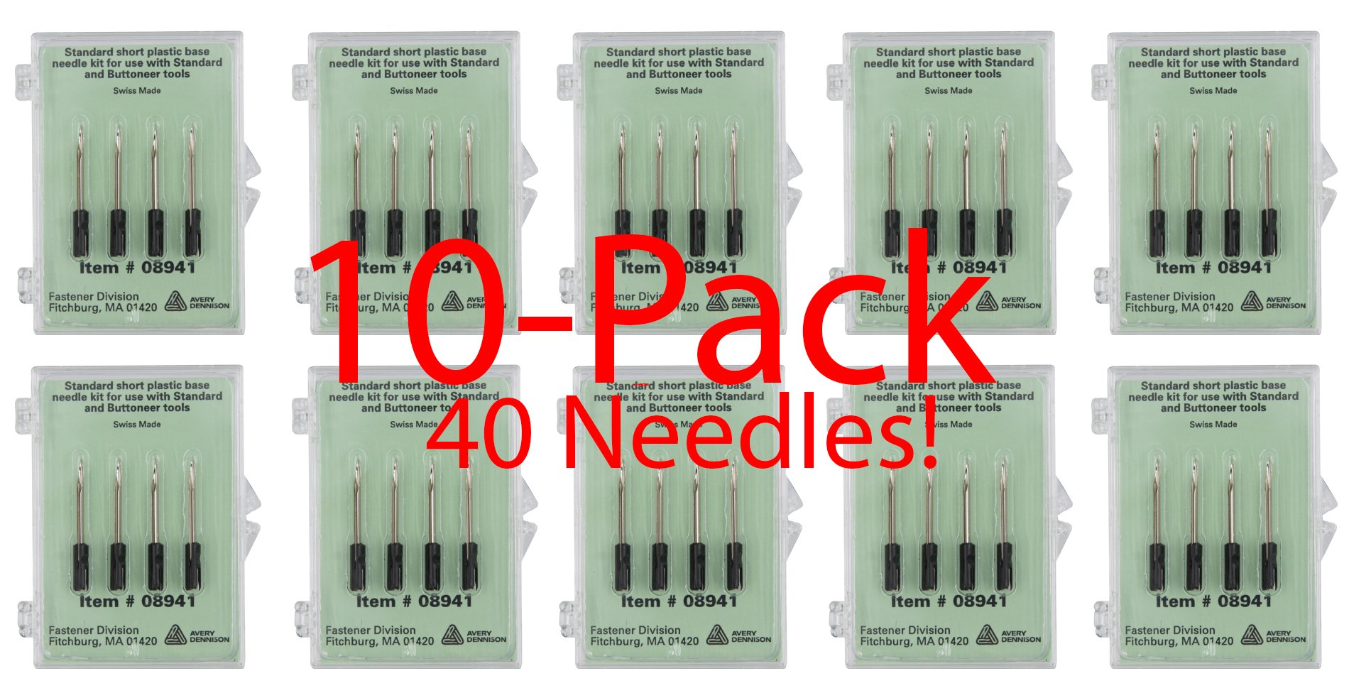 Avery Dennison Standard Tagging Gun Replacement Needles,10-Pack - Each Pack Contains 4 Needless for a Total of 40 Genuine Avery Dennison # 08941 Needles by Avery Dennison