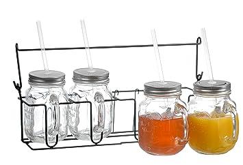 set of 4 glass 16oz mason jars mugs with handles lids and drinking straws - Mason Jar Glasses