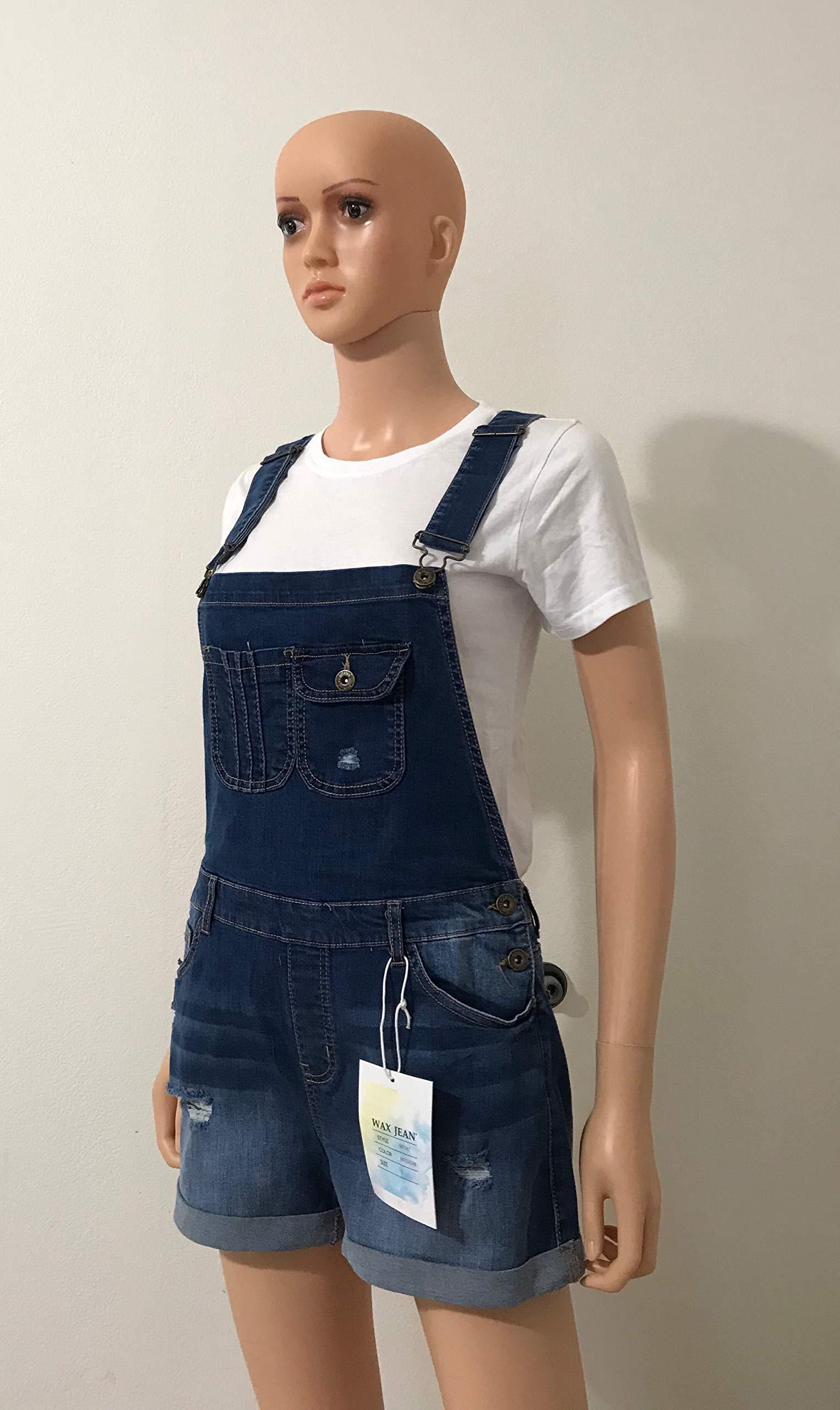 Wax Women's Juniors Cute Denim Overall Shorts (S, Medium Denim) by Wax