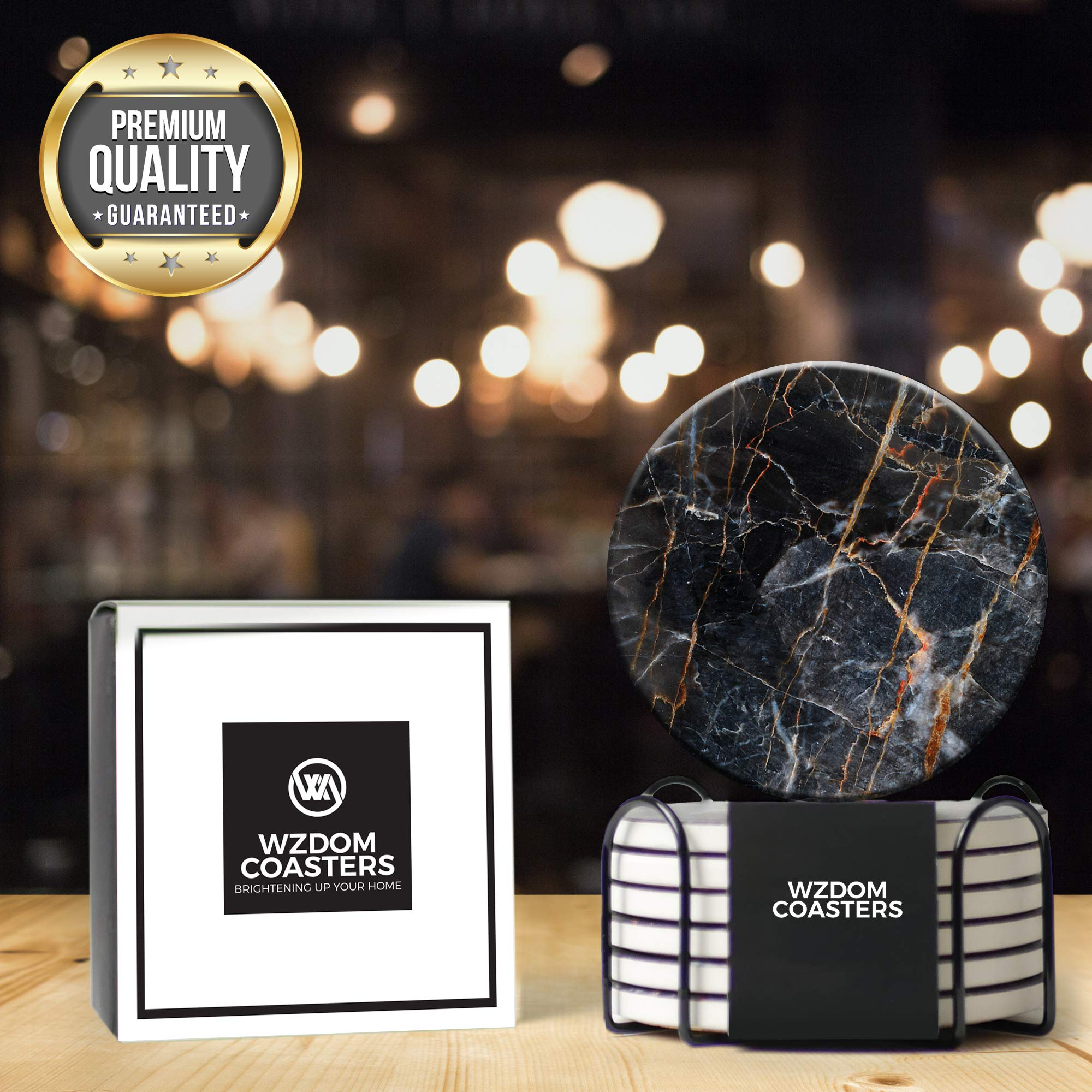 Wzdom Coasters For Drinks Absorbent With Holder Ceramic Stone Drink Coasters With Cork Base Absorbent Coaster Set Housewarming Gift Set Of 6 Black Coasters Buy Online In