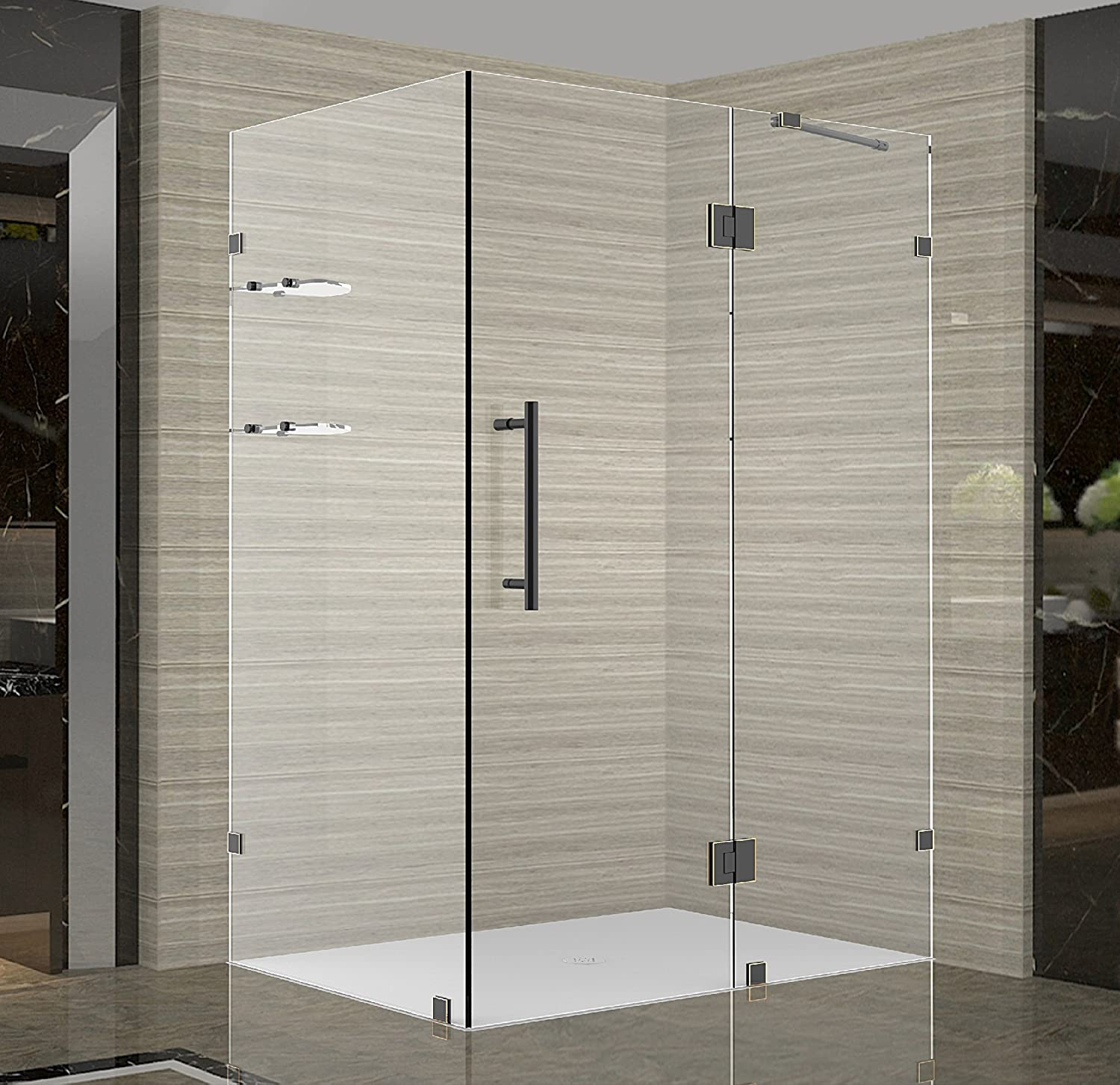 Aston Avalux Gs Completely Frameless Shower Enclosure With Glass Shelves 48 X 32 X 72 Oil Rubbed Bronze