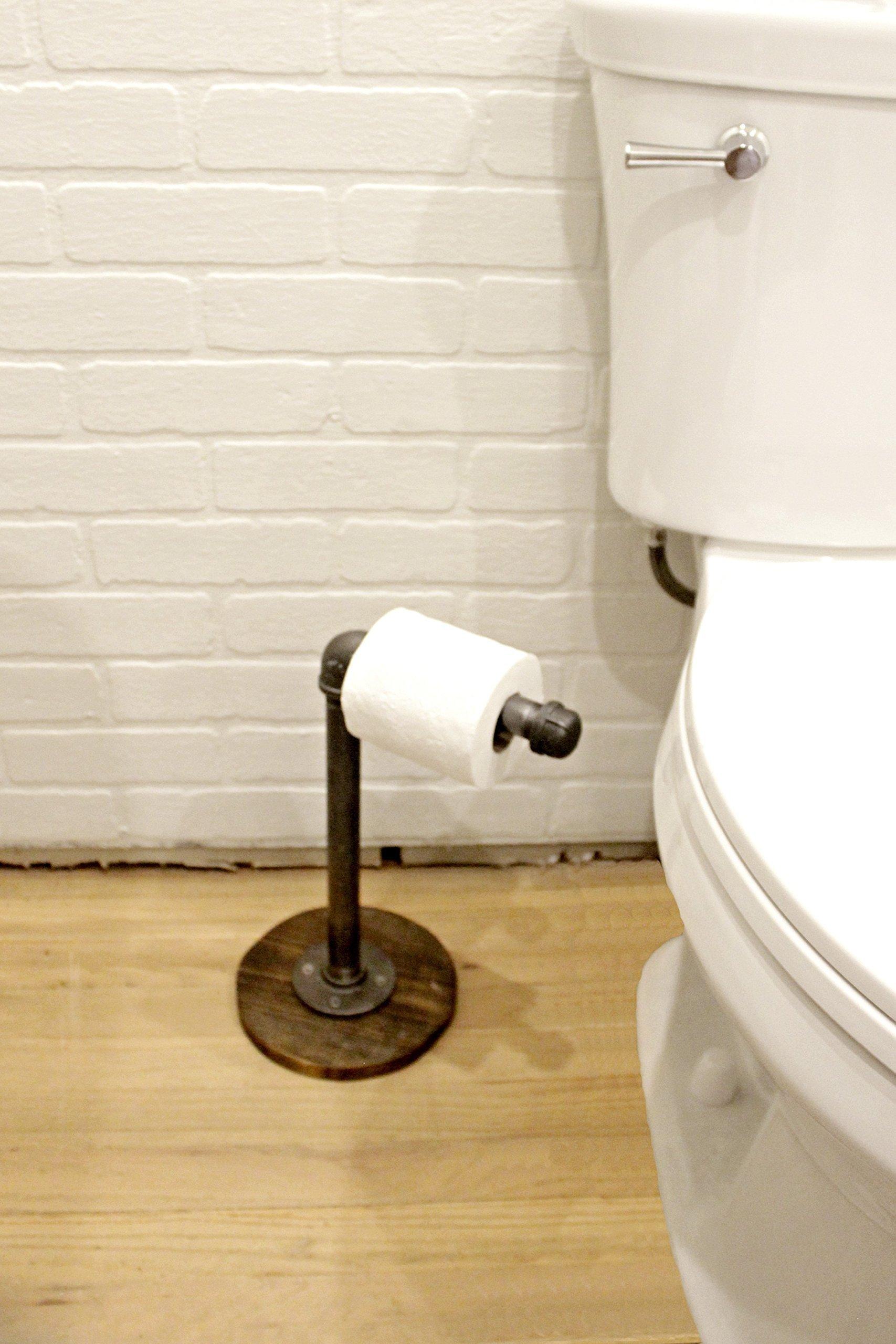 Freestanding Industrial Pipe Toilet Paper Holder stand, Toilet Roll Holder Industrial Farmhouse Bathroom decor, Bathroom fixture, Industrial Decor 4
