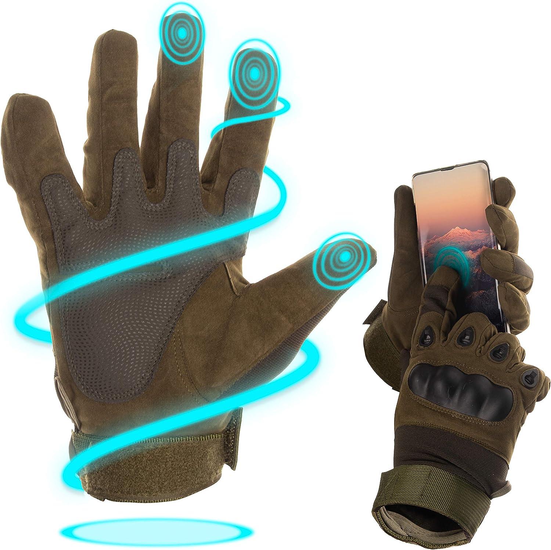 BearCraft Guantes de Moto Transpirables Guantes t/ácticos de Dedos Enteros Mitones para el Deporte y la Moto