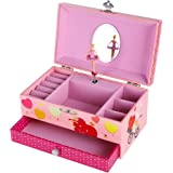 Songmics Musical Jewelry Box With Ring Holder 1 Drawers Pink with Ballerina Gift for Christmas JMC002