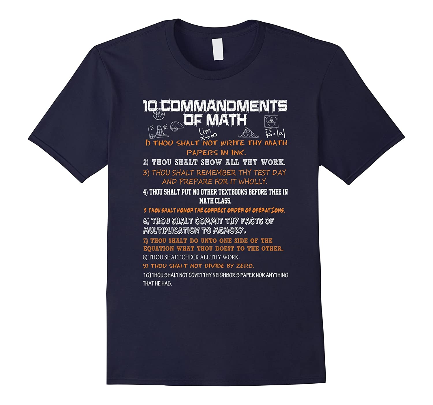 10 Commandments Of Math T-Shirt-Art