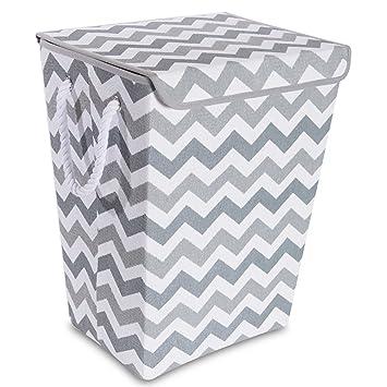 newest de36b 99911 Amazon.com   Taylor Madison Designs Chase Chevron Hamper in Grey White    Baby