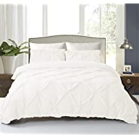 NC HOME FASHIONS Pinch Pleated Duvet Set Cover with Zipper & Corner Ties for Comforter/Quilt/Blanket, 3-Pieces with 2 Pillow Shams-Luxurious, Hypoallergenic Pintuck Decorative