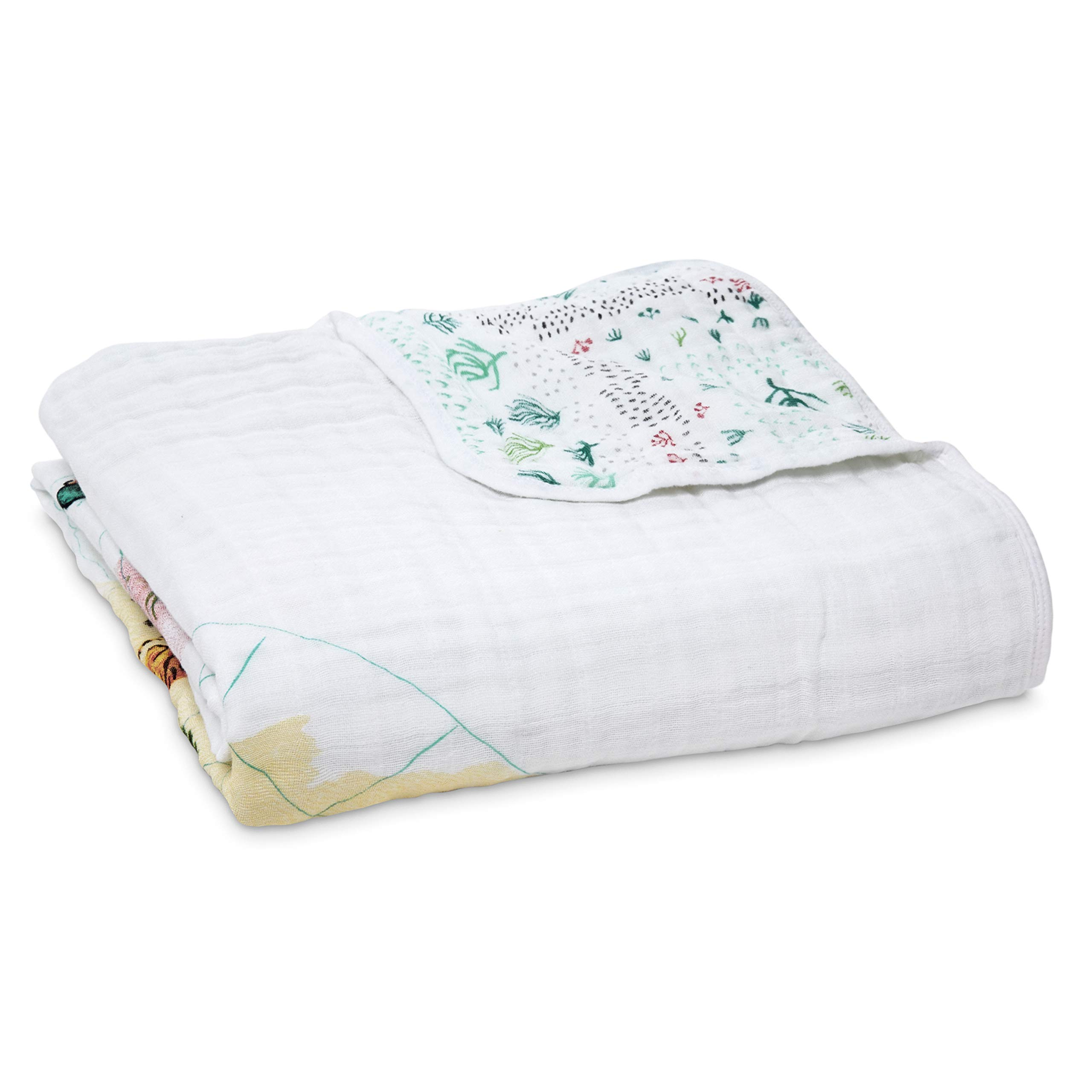 aden + anais Dream Blanket, 100% Cotton Muslin, 4 Layer Lightweight and Breathable, Large 47 X 47 inch, Around The World - Eng. Map