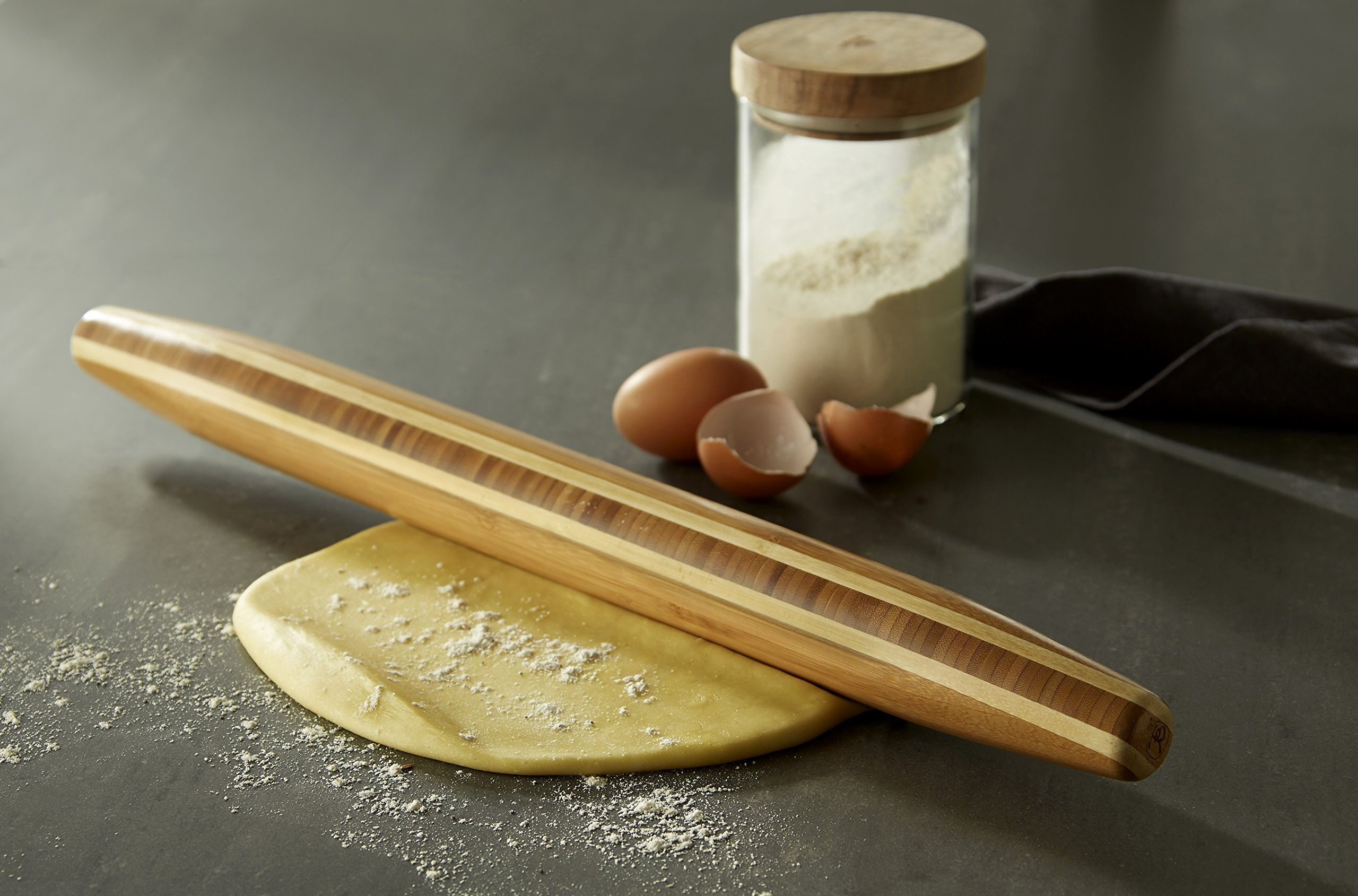 Totally Bamboo Large French Style Tapered Rolling Pin, Beautiful Inlay of Contrasting Color Measuring 20 1/2'' in Length; Made from 100% bamboo; Light, Durable & Super Strong- Perfect for Pastry Making by Totally Bamboo (Image #2)
