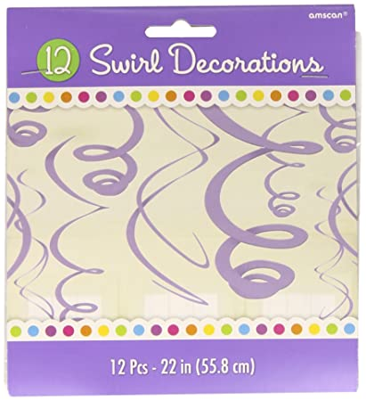 Unique Party 63272-66cm Plastic Hanging Swirl Purple Party Decorations Pack of 8
