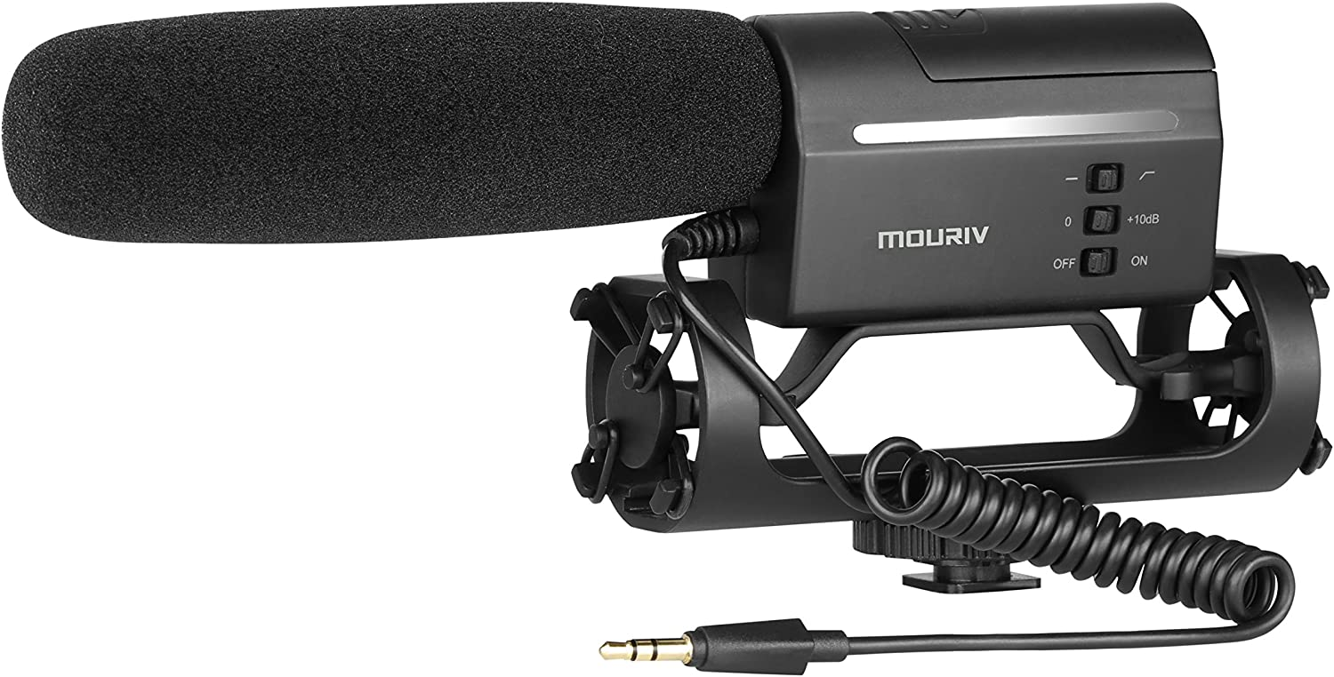 Mouriv VMC355 Video Condenser Shotgun Mic Professional Photography Interview Microphone On-Camera Recording Mic Compatible with Canon EOS Nikon D3300 Sony A9 DSLR Camera Fur/&Foam Windscreen Included
