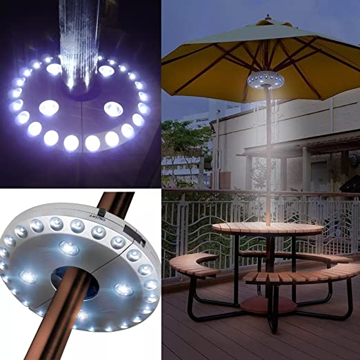 Lámpara inalámbrica para sombrilla de patio, con 24 más 4 luces LED; apta para tiendas de campaña y uso exterior (plateada): Amazon.es: Jardín