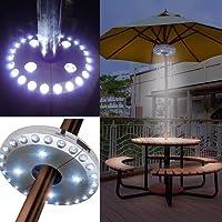Lampes de parasol de terrasse, Parasol Lights, lampe sans fil, avec 24+ 4LED, le camping, tentes et utilisation en extérieur (Silver)