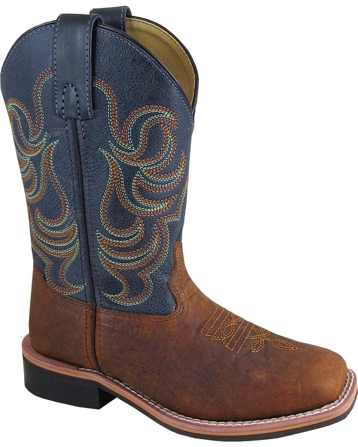 Smoky Mountain Boys' Jesse Bison Leather Print Boot Square Toe Brown 13 D
