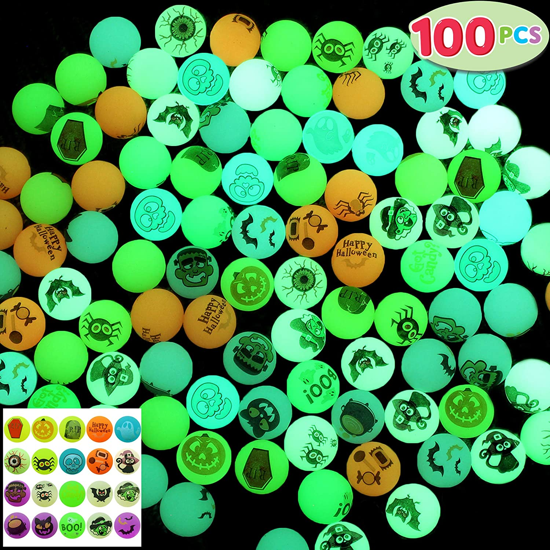 JOYIN 100 Halloween Theme, Glow in The Dark Bouncing Balls, 20 Designs for Halloween Party Supplies, Trick or Treating Goodies