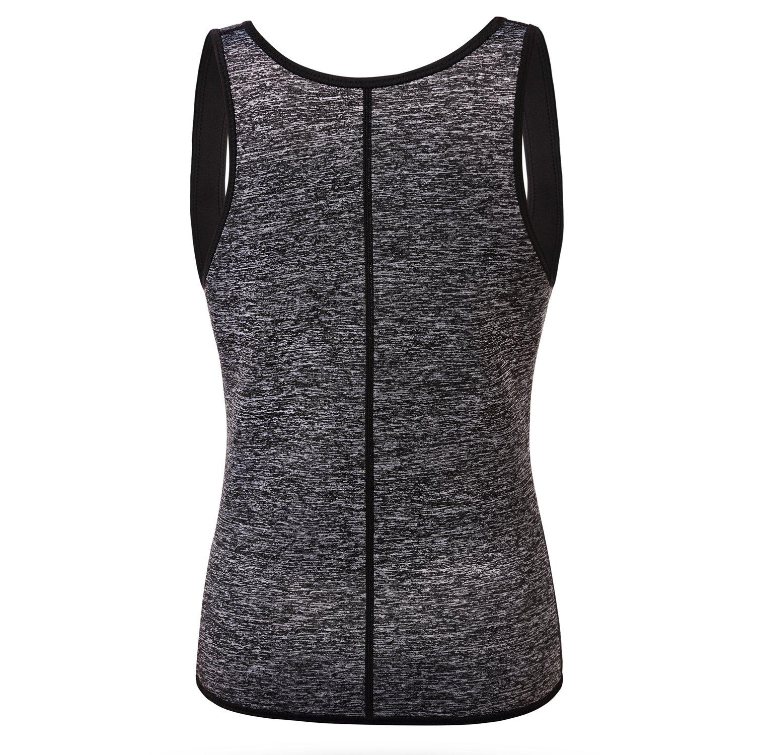 QEESMEI Womens Neoprene Sweat Waist Trainer Cincher Vest Slimming Shirt Body Shaper For Weight Loss (Grey, Small)