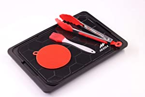 Defrosting Tray Thawing Plate for Frozen Meat, Rapid Thaw Defrosting Mat with Drip Tank, Silicone Sponge, Brush & Food Tong, Defrosting Set, Magic Defrost Tray, Miracle Thaw Master