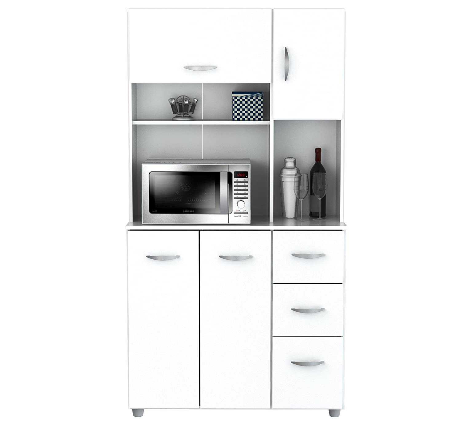 Delicieux Amazon.com: Inval America 4 Door Storage Cabinet With Microwave Cart,  Laricina White: Kitchen U0026 Dining