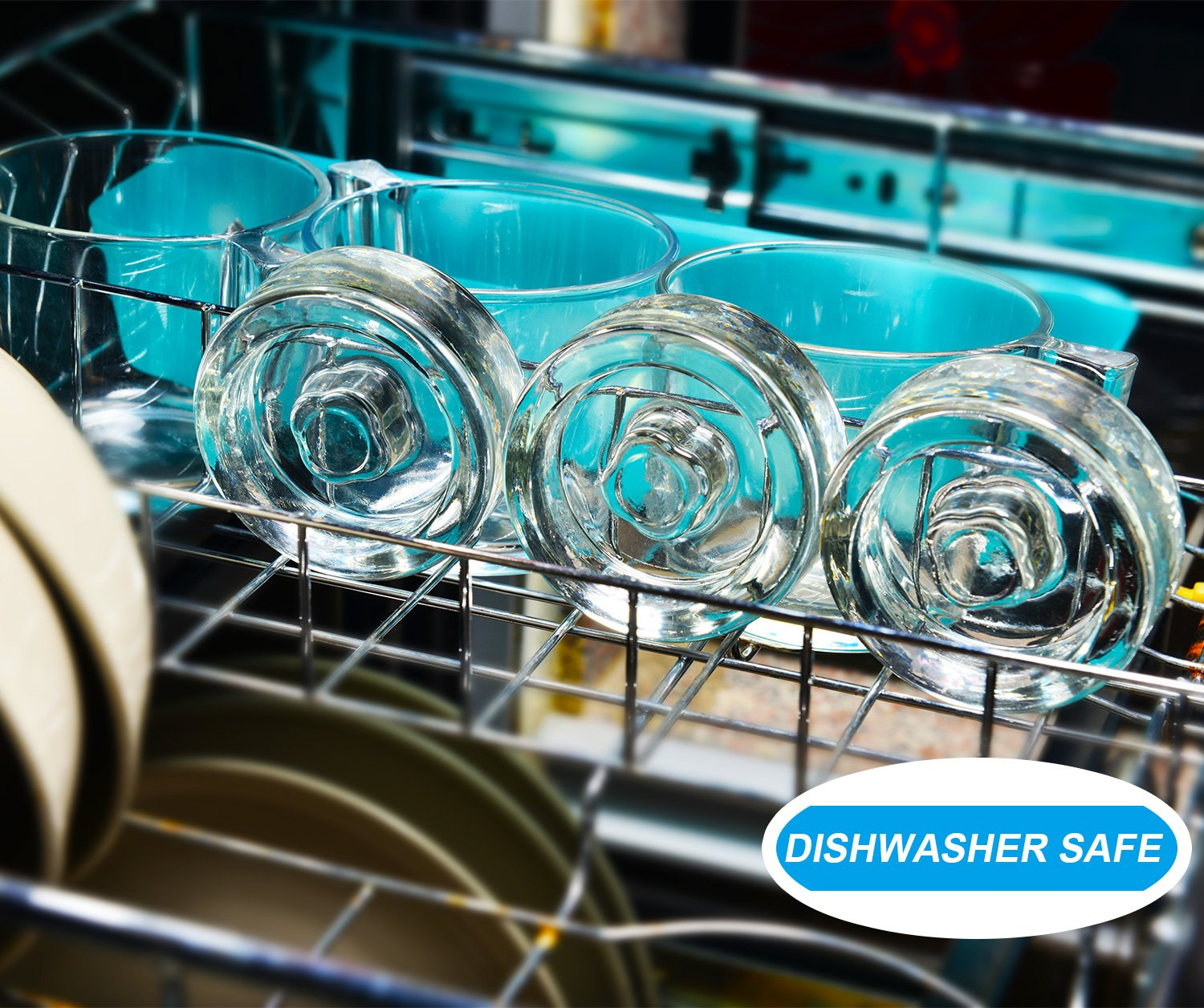 6-Pack Easy Fermentation Glass Weights with Handles for Keeping Vegetables Submerged During Fermenting and Pickling, Fits for Any Wide Mouth Mason Jars, FDA-Apporved Food Grade Materials by Siliware (Image #6)