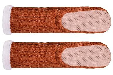 Amazon.com: Winter House Socks Women Long Warm Slippers Fleece Lined Non Skid Knit Shoes: Clothing