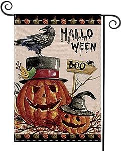 DIYUE Scary Halloween Pumpkin Home Garden Yard Flag 12.5 x 18 Inch Decorative Boo Garden Flag