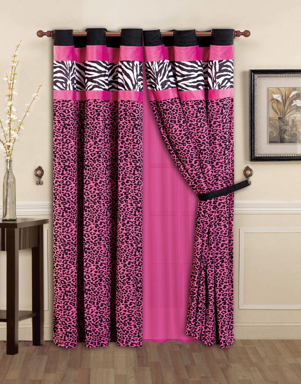 Pink and black bedding - Amazon Com 7 Pieces Hot Pink Black And White Leopard Zebra Comforter 86 X86 Bed In A Bag Set Full Double Size Bedding Home Kitchen