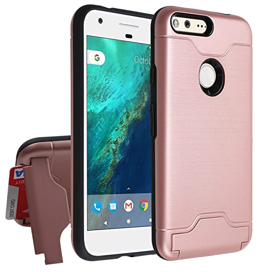 online store 58d36 7ce27 Google Pixel XL Wallet Case,[Hidden Card Slot Kickstand] Dual Layer Shock  Absorption Protective Case [Credit Card Slot] Heavy Duty Bumper Case for ...