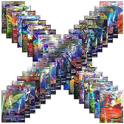 100 Poke Cards TCG Style Card Holo EX Full Art : 20 GX + 20 Mega + 1 Energy + 59 EX Arts: Everything Else
